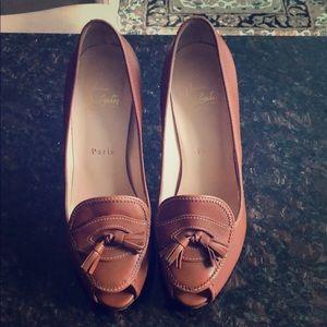 Christian Louboutin peep toe platform heels